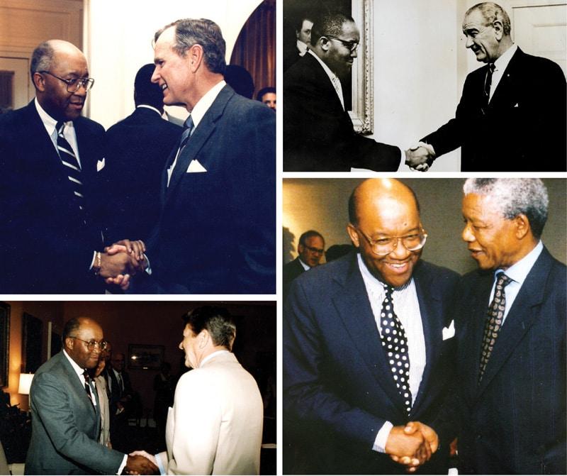 Nelson Mandella, George H Bush, Ronald Reagan, Lyndon Johnson